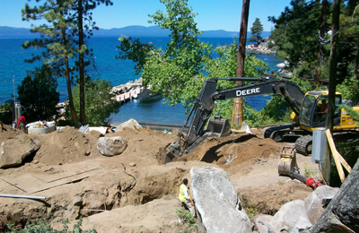 Lake Tahoe shoreline construction